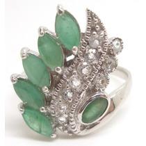 Joalheriavip Anel De Esmeraldas Naturais Em Prata 925