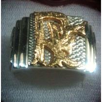 Anel Monograma Em Prata 950 Com Letra Folheada Em Ouro.