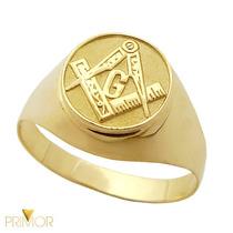 Anel Masculino De Ouro Com Símbolo Maçonaria Com 8g An079