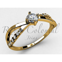 Anel Solitário De 34 Pontos. Diamante Ouro Noivado