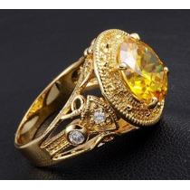Anel Masculino Aro 22 Banhado Em Ouro Com Citrino - J1393z