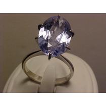 #373a - Anel Em Ouro 18k Com Topazio Azul Oval Natural