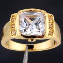 Anel Masculino Aro 22 Banhado Em Ouro Quartzo Branco J1630b