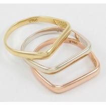 Esfinge Jóias - Conjunto Anéis Três Cores Aro18 Ouro 18k 750