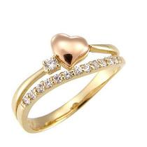 Anel Coração Em Ouro Amarelo E Rose 18k! E Brilhantes