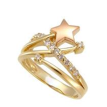 Anel Estrela Em Ouro Amarelo E Rose 18k! E Brilhantes