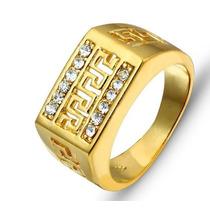 Anel Masculino Aro 19 Banhado Em Ouro Com Cristais - J1439c