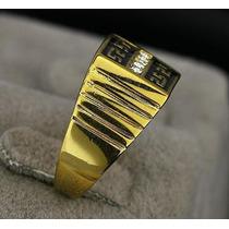 Anel Masculino Aro 19 Banhado Ouro 18k Enamel Negro - J1636g