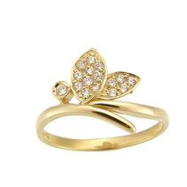 Anel Formato Folhas Em Ouro Amarelo 18k!!e Diamantes !!