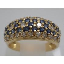 Boqueiraojoias Anel Ouro 18k Com 28 Diamante 25 Safira Azul