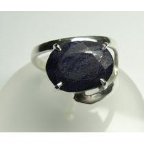 Anel Prata 950 C/ Safira Indiana Azul Lindo
