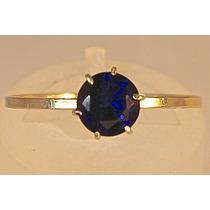 Rsp J1939 Anel Ouro 18k Cálice Com Safira Azul Frete Grátis