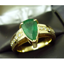 Anel De Esmeralda Natural E Diamantes Em Ouro 18k Legitimo!!