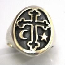 Anel Prata 925 Cruz Estrela Lua Malta Templario - Ma2186