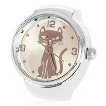 Relógio Anel Dedo Prata Aço Regulável Grande Natal Presente