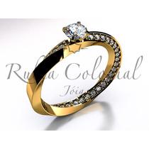 Anel Solitário De Diamantes. Ouro 18k. Noivado Presente