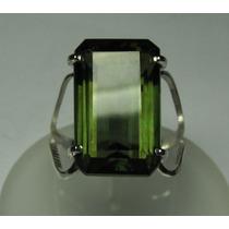 Anel Quartzo De Turmalina Verde Retangular Em Prata 950