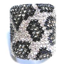 Dex-anel Onça Prata 925 Zirconia Negra Cinza Branca Rodio