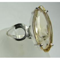 Anel Citrino Em Prata 950 Lapidação Navete Imperdivel C87