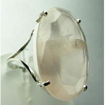 Anel Prata 950 C/ Quartzo Rosa Oval C97