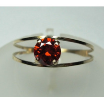 Anel Solitário Ouro 18k Vermelho Rubi Lapidação Diamante