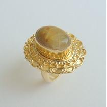Anel Prata Indiana 925, Banho Ouro, Rutilado, Aro 15, C 3521