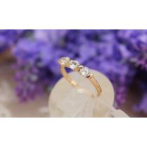 Anel Feminino 3 Pedras Banhado A Ouro Rosé 18kt Com Cristais