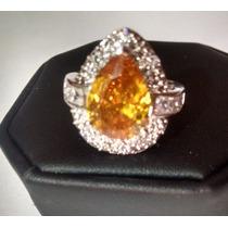 Anel Citrino Amarelo E Diamantes Em Prata 925 Aro 19 (0329)