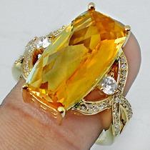 Jóias Ativ55- Quartzo Citrino- Anel De Prata 925- B Ouro 18k