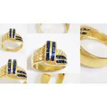 Boqueiraojoias Anel De Ouro 18k 26 Diamantes 20 Safira Azul.