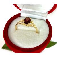 Anel 100% Ouro 18k Pedra Granada Diamantes