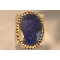 Rsp J2408 Anel Prata 925 B. Ouro Safira Azul Frete Grátis