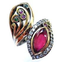 Promoção-dzk-anel Turquia Turco Prata 925 Rubi Esmeralda