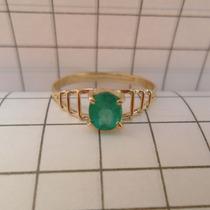 Anel De Ouro Maciço18k Esmeralda Oval 5,5mm X 4,5mm