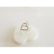 Anel Dois Corações Em Prata 950 Com Esmeralda Ou Rubi