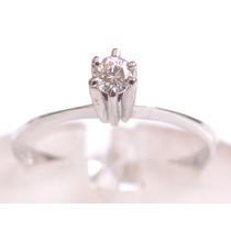 Feliz Joias - Anel Solitário C Diamante 0,08 Cts Em Ouro Bco