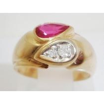 Boqueiraojoias Anel De Ouro 18k-750 Com 2 Diamantes 1 Rubi.