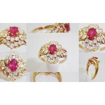Boqueiraojoias Anel De Ouro 18k Com 27 Diamantes 1 Rubi.