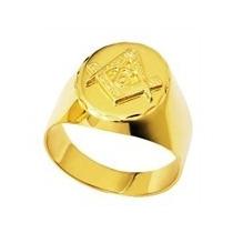 Anel Em Ouro 18k Oval Trabalhado Emblema Maçonaria - Faf35