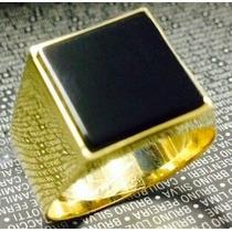 Leão Jóias Anel De Ouro 18k 15gr 10mm - Pedra Onix