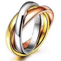 Aliança Anel Feminino Folheado Ouro Rose, Ouro E Prata