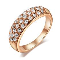 Anel Meia Aliança Semi-jóia Zircônia E Ouro Rosê Tam 16
