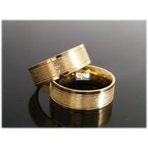 Par De Aliança Ouro 18k Casamento Noivado 6mm 9 Grs Diamante