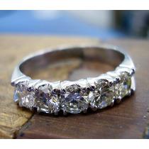 Meia Aliança De Diamantes Lindissima Ouro Branco !