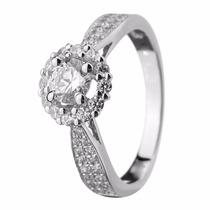 Anel Solitário Em Ouro Branco 18k Com Diamantes - Cwb Joias