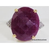 Boqueiraojoias Anel Com Rubi 12 Diamantes Ouro 18k-750.