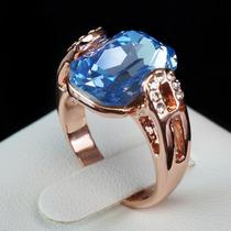 Anel Avalon Pedra Oceano Folheado A Ouro Rosê 18k Feminino
