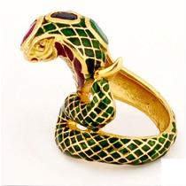 Jóia Anel Cobra Prata Banho De Ouro 18k Rubi Esmeralda