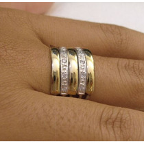 Anel 5 Elos Em Prata 950 E Ouro E Zircônia Frete Grátis