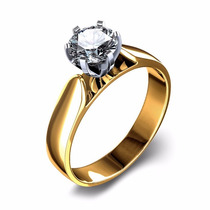 Anel Ouro 18k Solitário Noivado Diamante 25pts - Cwb Joias